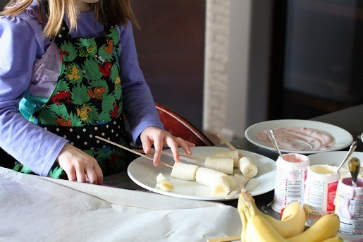 Frozen Banana Sticks - Preparing the Bananas