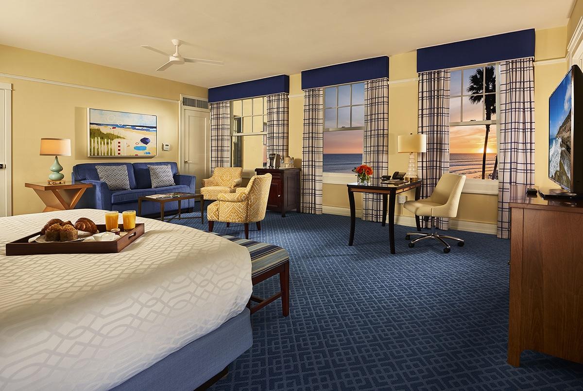 Ocean view Junior Suite at sunset.
