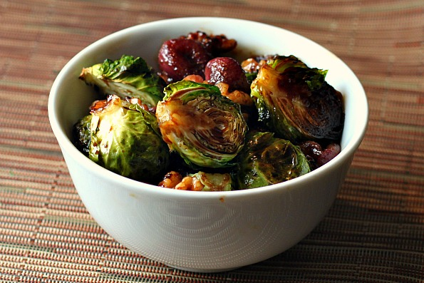 Roasted Brussel Sprouts With Grapes And Walnuts