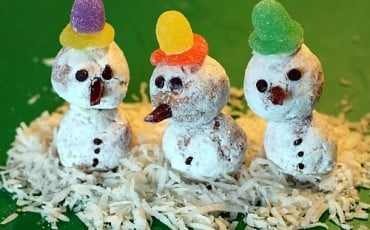 Donut Hole Snowmen Holiday Dessert Kids Recipe