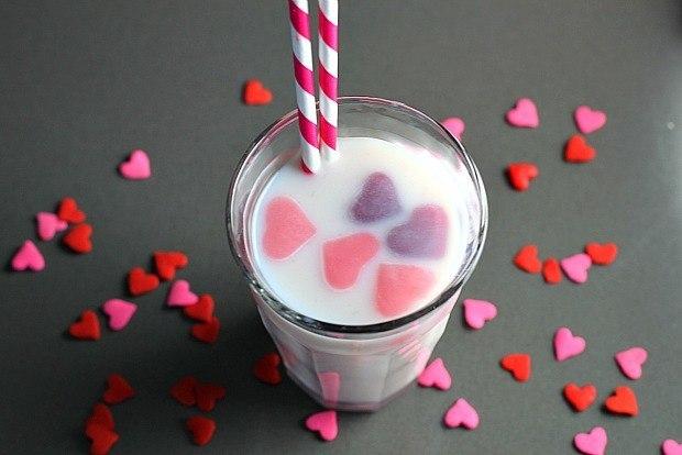 Heart Ice Cubes in Milk