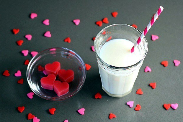 Strawberry Milk Ice Cube Hearts for Valentine's Day