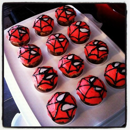 Spider-Man Birthday Cupcakes