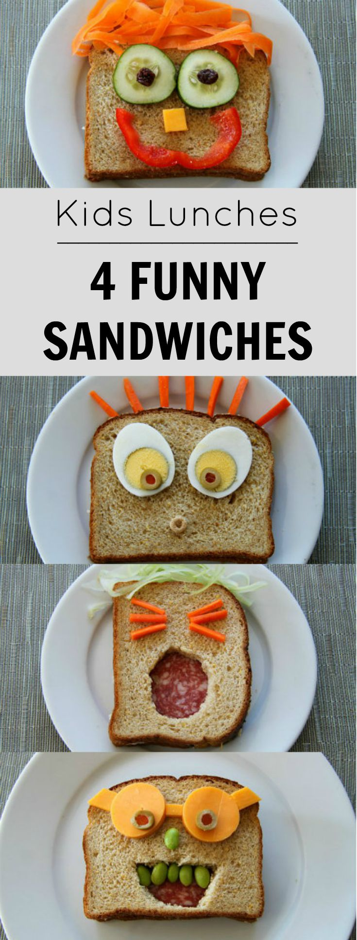 When kids get tired of their normal sandwiches, bust out one of these for lunch.