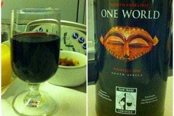 American Airlines Business Class Wine