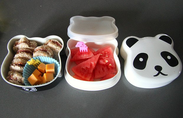 If your child has a lunch bag (like from Pottery Barn), this panda bento lunch box will make packing it MUCH easier and use less waste!