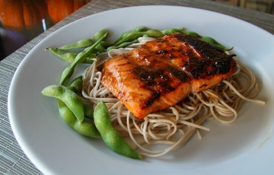 Recipe: EASY Salmon With Brown Sugar & Mustard Glaze Over Soba Noodles