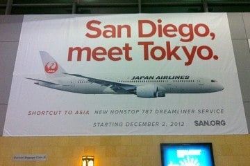 San Diego receives a direct flight to Tokyo on Japan Airlines 787 Dreamliner. Service begins on December 2 and is the only direct flight from SAN to Asia.