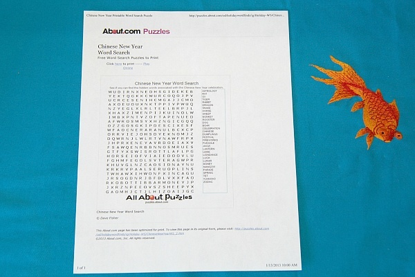 Chinese New Year Printable Word Search