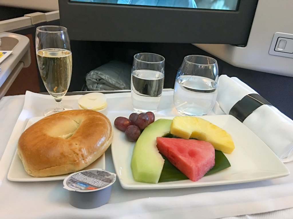Cathay Pacific business class breakfast starter course