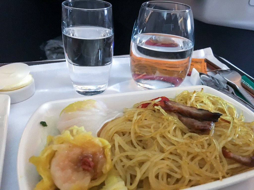 Cathay Pacific business class breakfast main course of Singaporean noodles