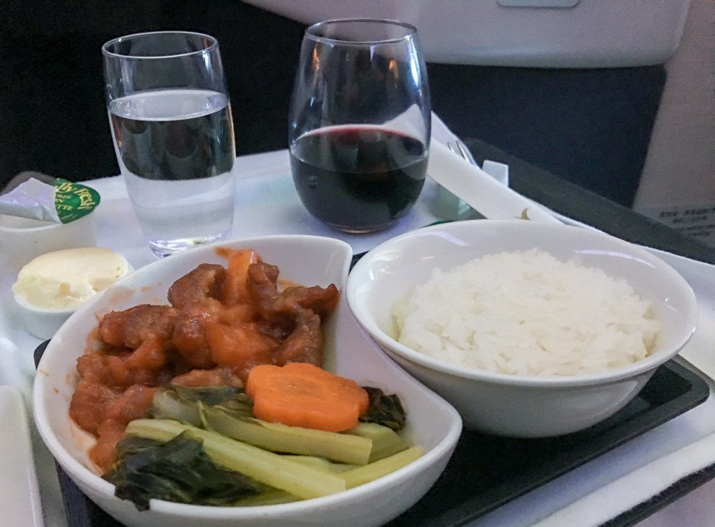 Cathay Pacific business class main course of sweet and sour pork