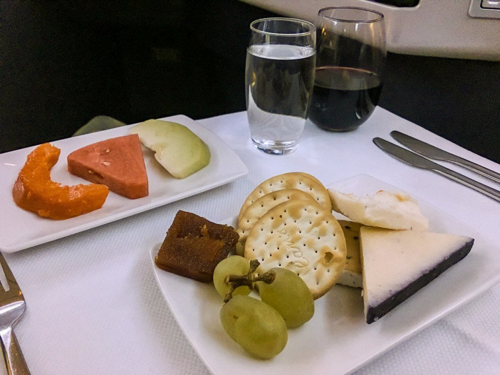 Cathay Pacific business class cheese and fruit course