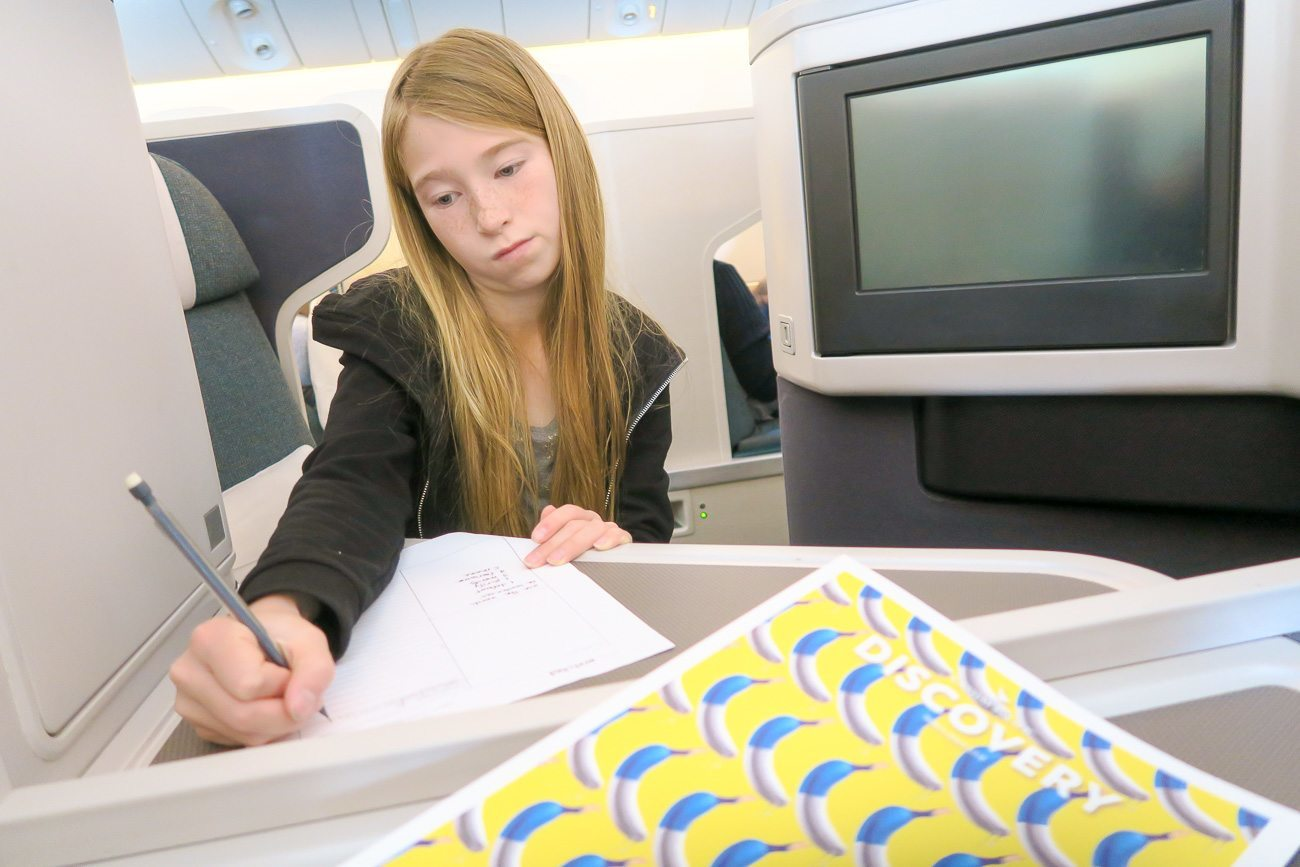 Learn where to sit in business class on Cathay Pacific with kids