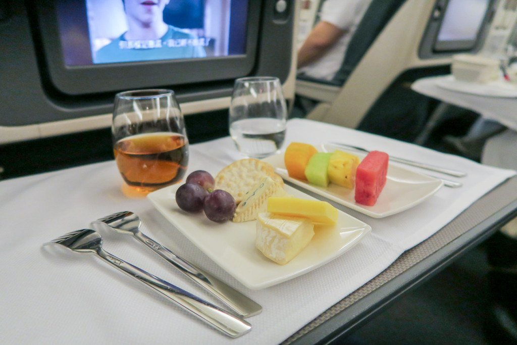 Fruit and cheese course on Cathay Pacific regional business class