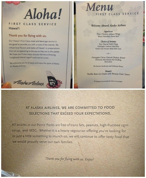 Alaska Airlines First Class Menu