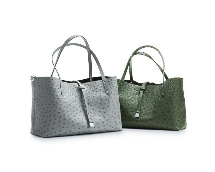 TRT: Tiffany Reversible Totes in ostrich (from left): frost/onyx, bright moss/espresso. - $4,500, $4,500
