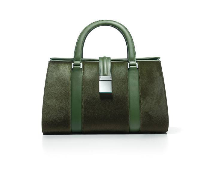 Tiffany Crosby structured tote in bright moss haircalf with leather - $2,150