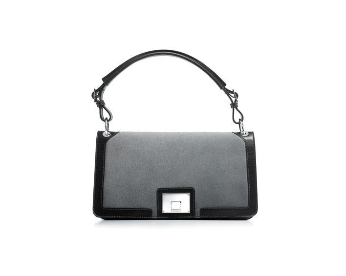 Tiffany Justine gusset shoulder bag in frost suede with onyx leather $1,350