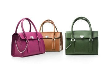 Tiffany Margo satchels in vachetta leather (from left): orchid, cognac, bright moss. $1,250, $1,250, $1,250