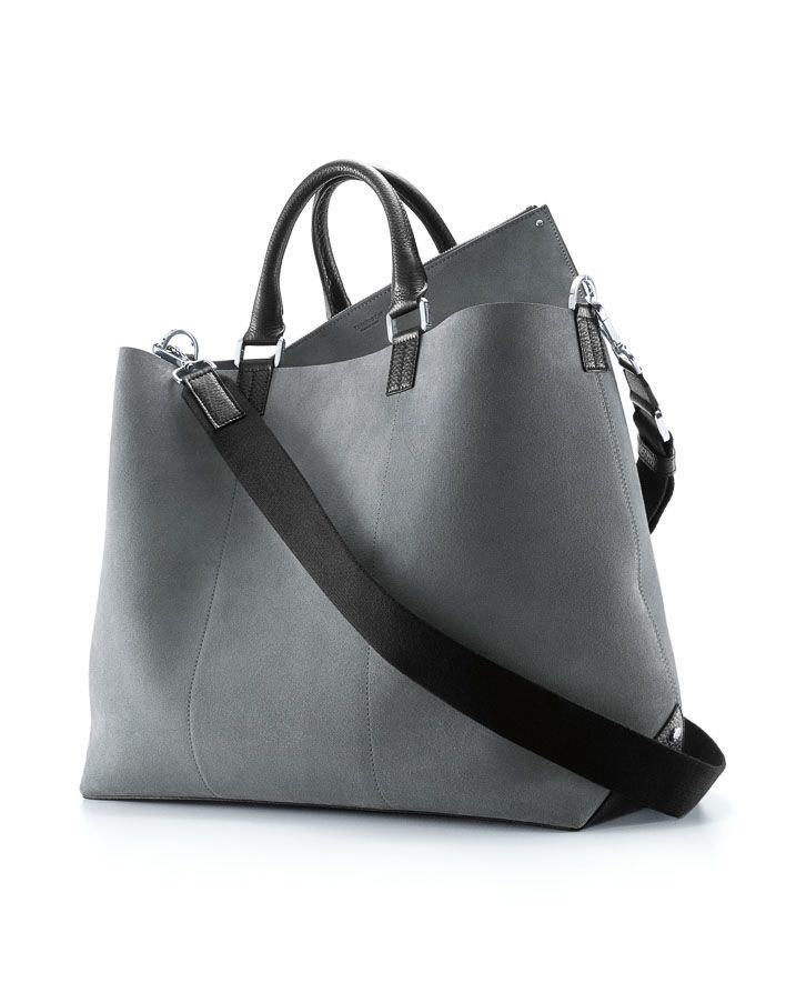 Tiffany Mason soft tote in frost suede with onyx leather $1,050
