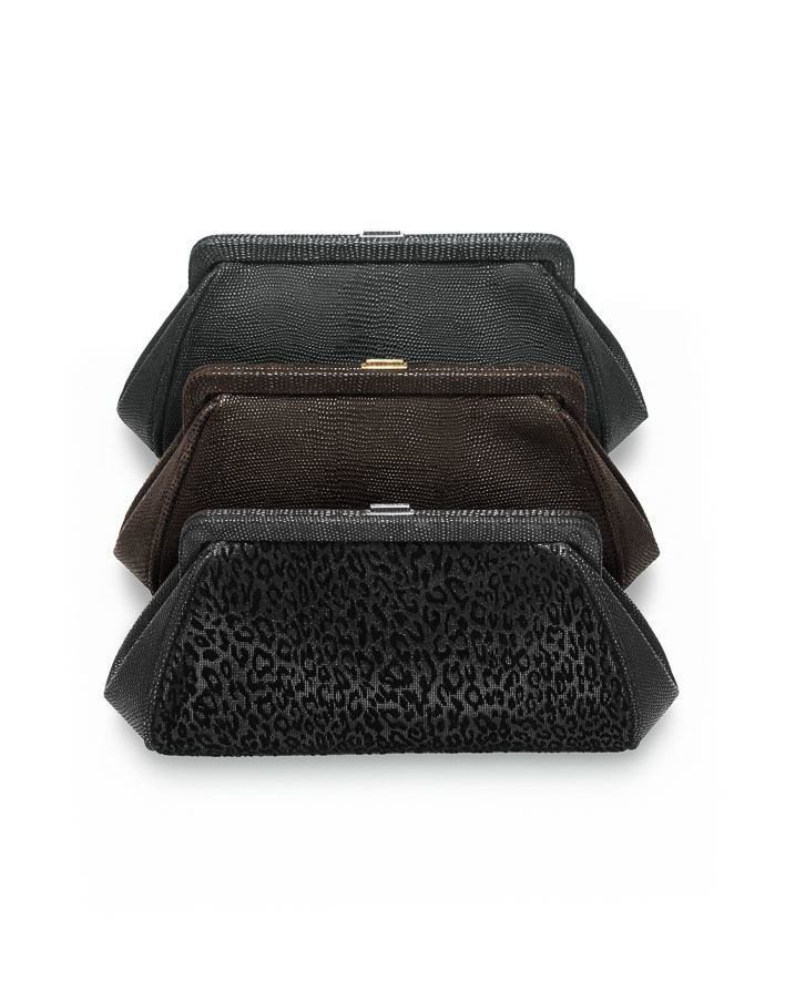 Tiffany Morgan clutches (from top): onyx textured leather, espresso textured leather, suede in leopard print with onyx textured leather. $950, $950, $950