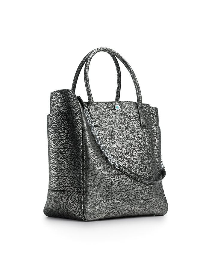 Tiffany Riley tote in old silver metaillic grain leather $950