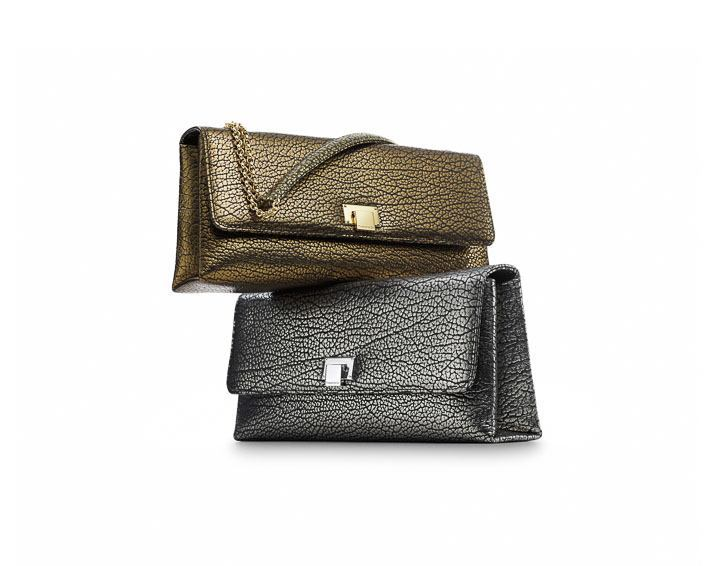 Tiffany Tatiana clutches in old gold and old silver metallic grain leather $950, $950