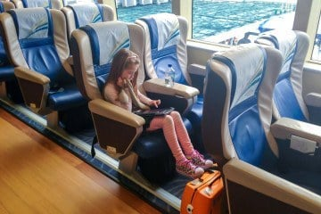 Take a look at what first class is like on the Cotaijet ferry to Macau from Hong Kong.