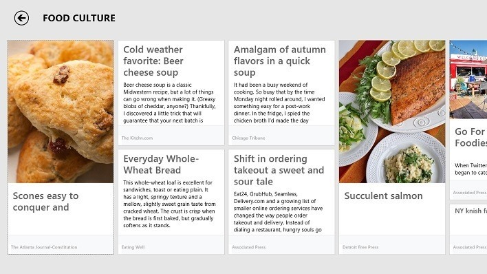 Bing Food and Drink App Articles