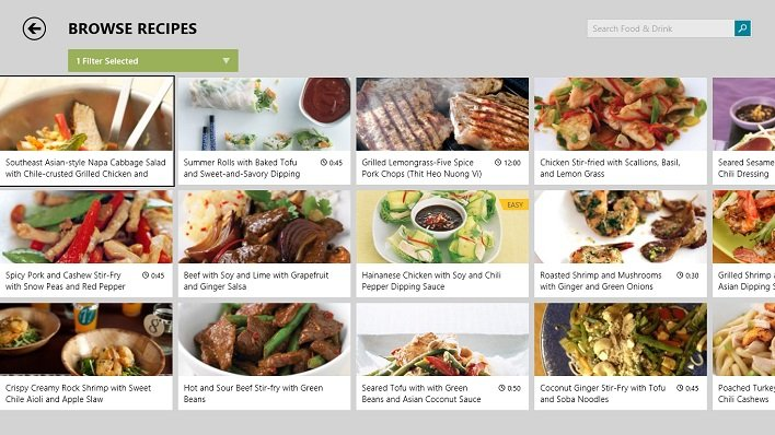 Bing Food and Drink App Recipes