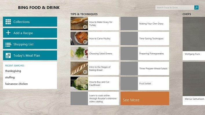 Bing Food and Drink App Tips