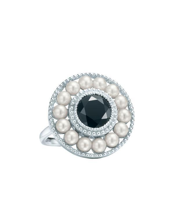 Tiffany & Co. Ziegfeld pearl ring in sterling silver and black onyx