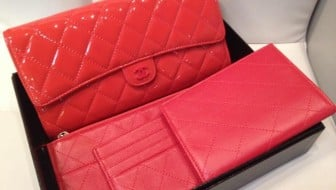 Chanel luxury travel wallet in red patent leathe