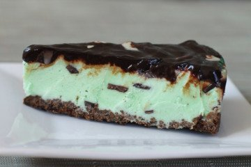 An easy Girl Scout Cookie recipe for Thin Mint ice cream pie.