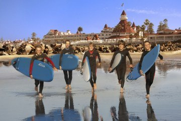 Learn to surf at the Hotel Del Coronado, a luxury San Diego beachfront hotel.