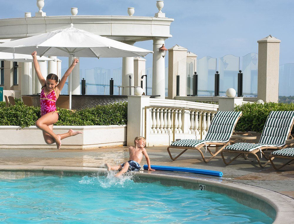 Manchester Grand Hyatt's outdoor pool makes it a perfect downtown San Diego hotel for families.