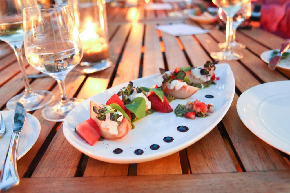 Strawberries and peaches at Kitchen 1540