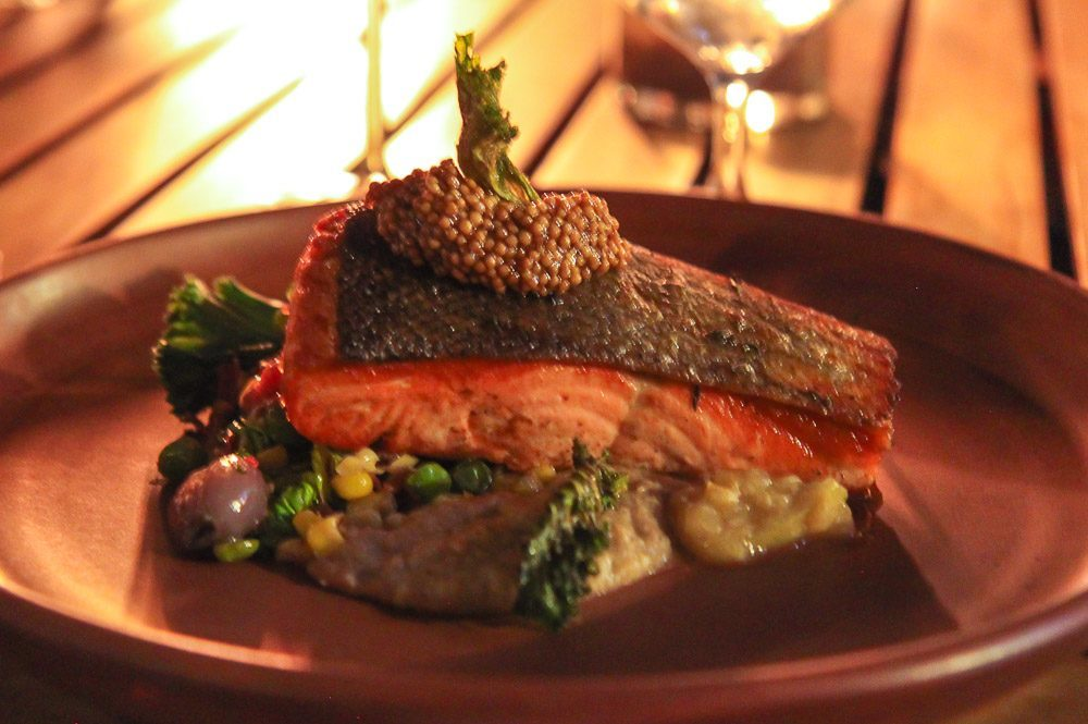 Kitchen 5140 king salmon with black-eyed pea hummus, kale and more
