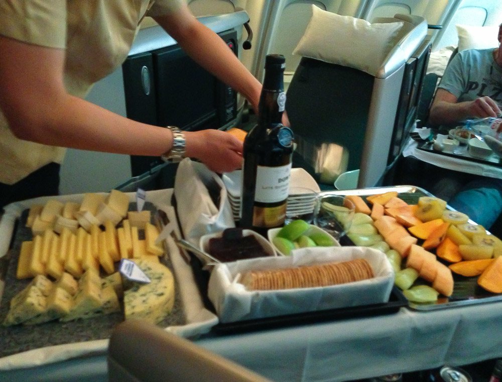 Cathay Pacific business class cheese and port