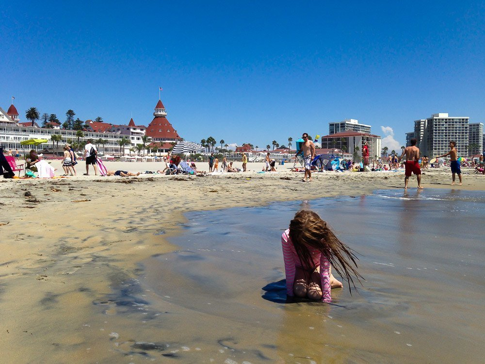 The beach in front of the Hotel Del Coronado