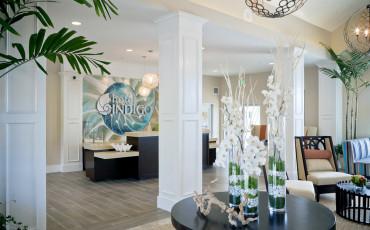 The sea-themed lobby at Hotel Indigo Del Mar