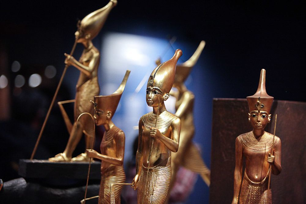 Golden figure replicas from King Tut's tomb