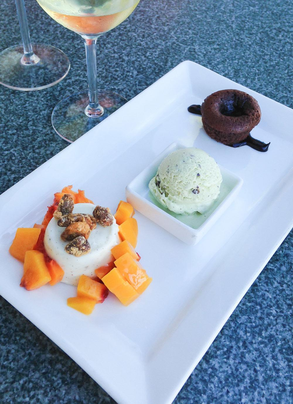 Trio of desserts at The Fishery Restaurant in Pacific Beach