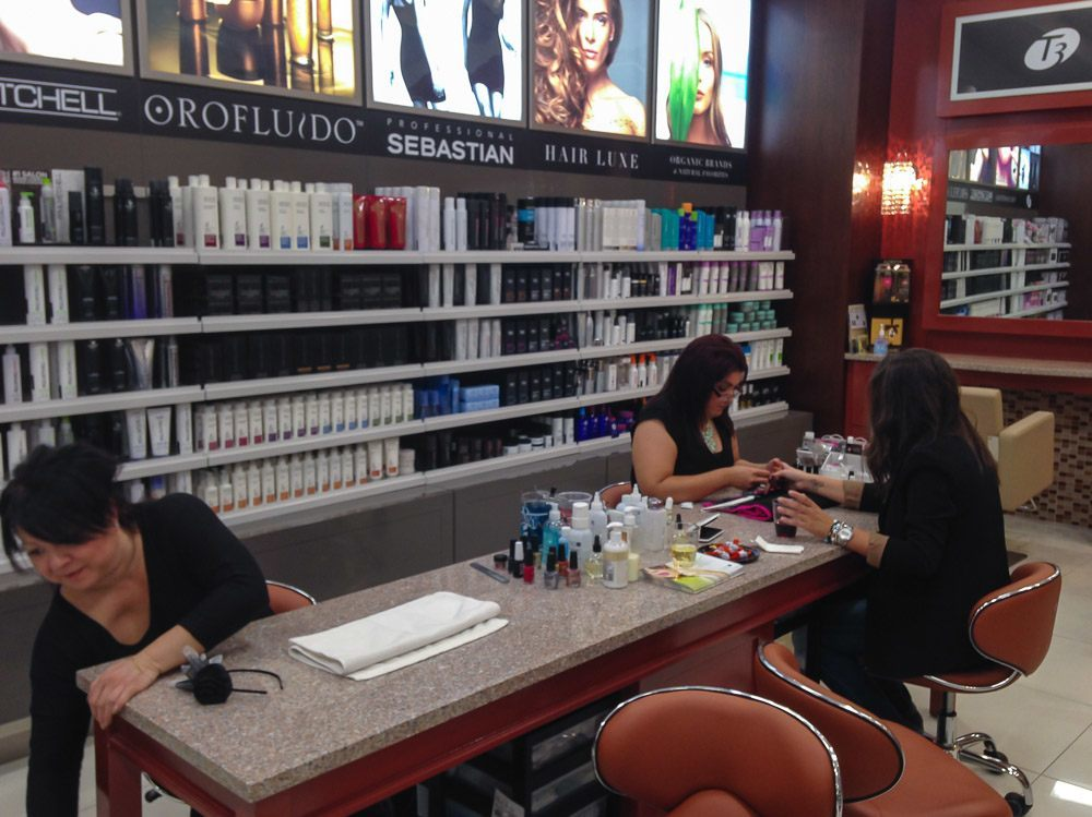Duty Free City beauty services include nails and hair