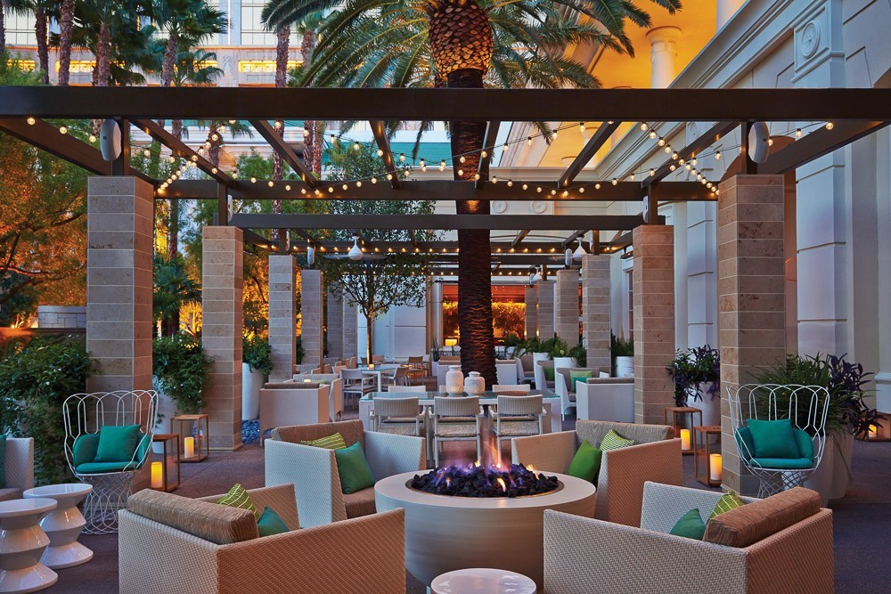 The gorgeous patio at PRESS, Four Seasons Hotel Las Vegas