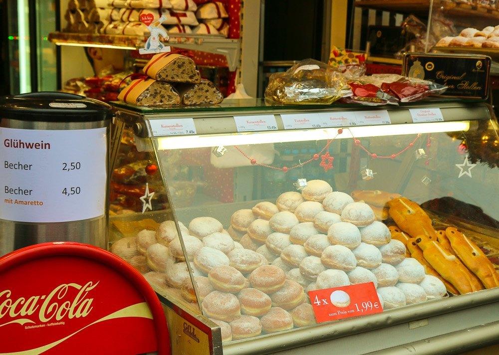 Frankfurt Christmas Market berliner dessert is like a jelly donut