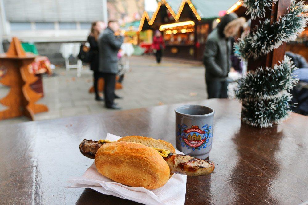 Frankfurt Christmas Market Bratwurst and Gluhwein