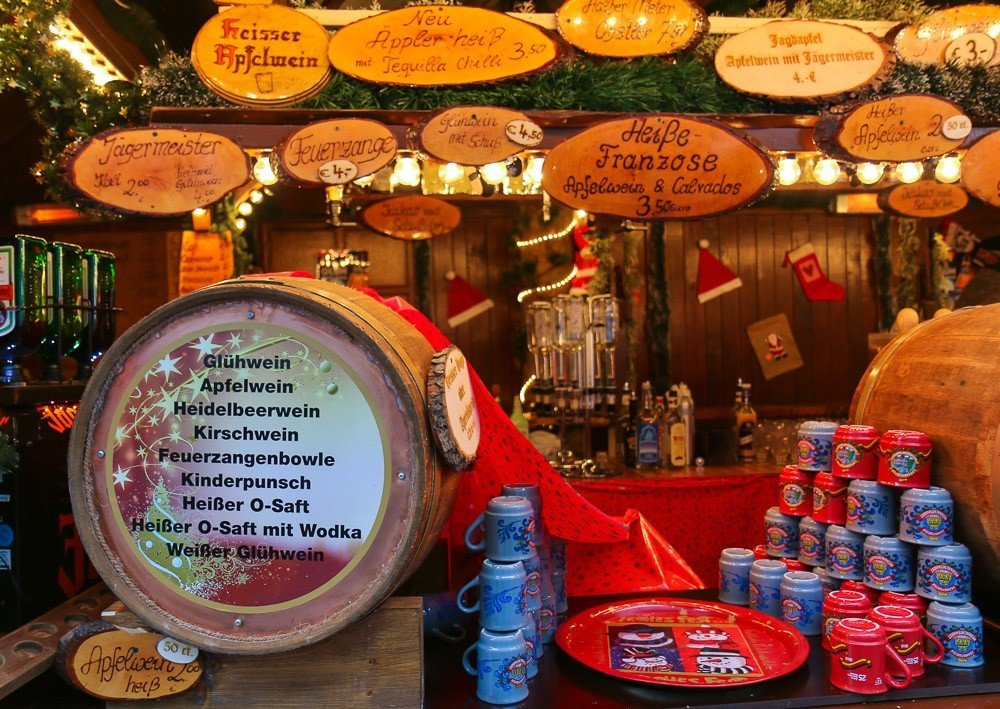 A gluhwein stand at the Frankfurt Christmas Market