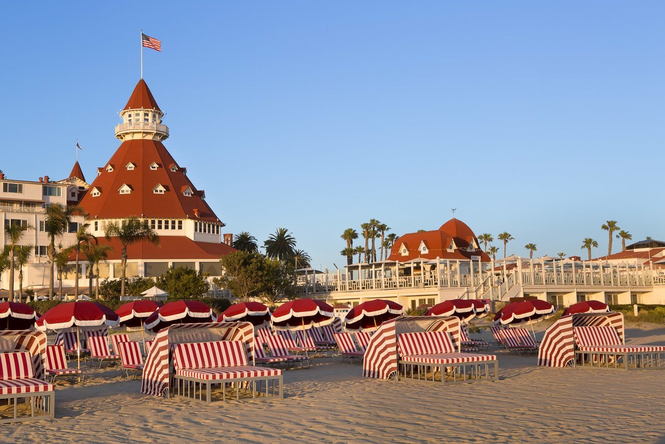 View of Del Beach with the red roof of the Hotel Del Coronado visible in the background.